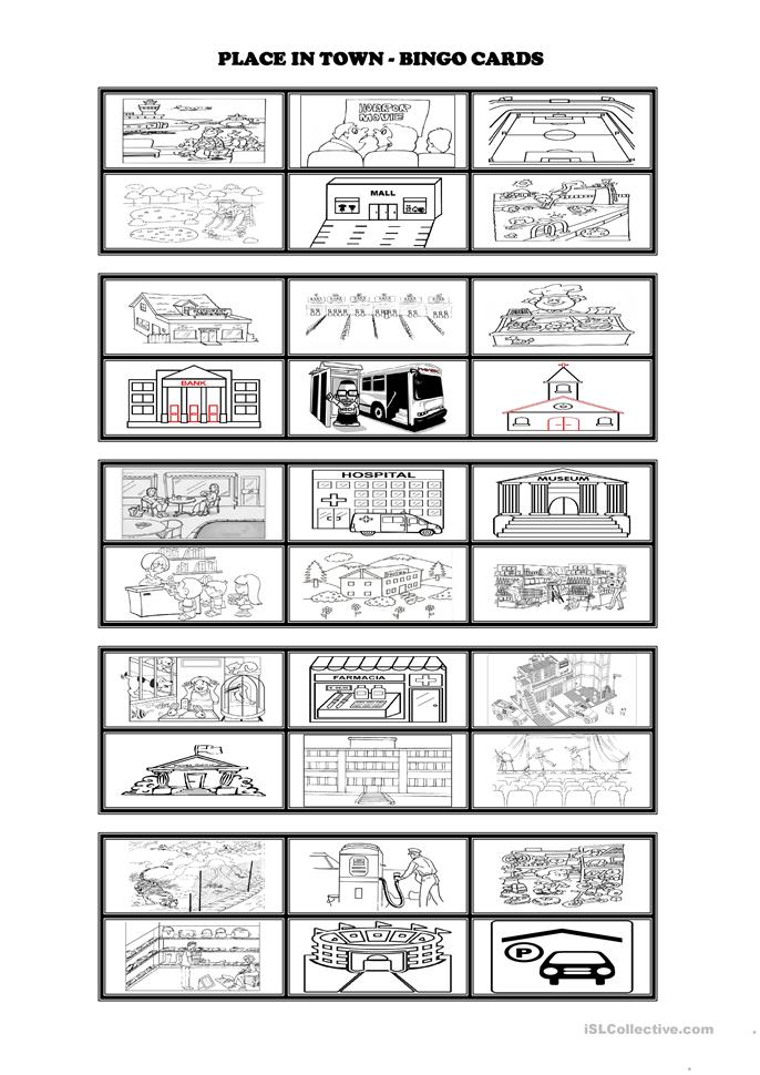 places in town bingo cards worksheet free esl printable worksheets made by teachers. Black Bedroom Furniture Sets. Home Design Ideas