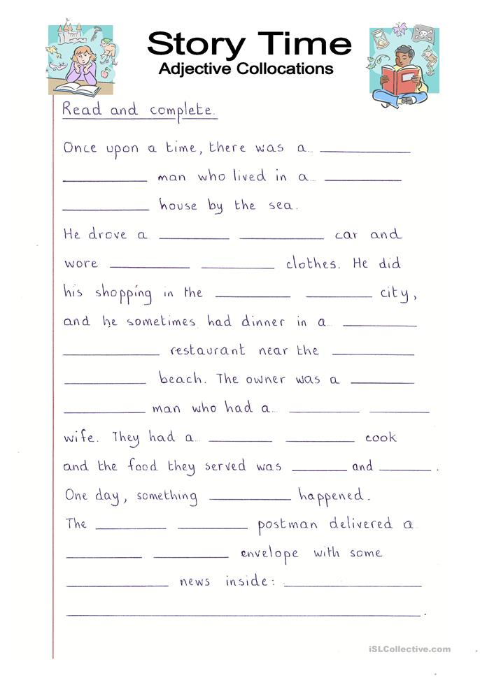 Read and Complete - Story Time with Adjectives worksheet ...