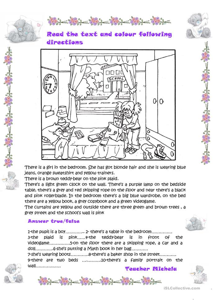 read the text and colour following directions true false activity worksheet free esl printable. Black Bedroom Furniture Sets. Home Design Ideas