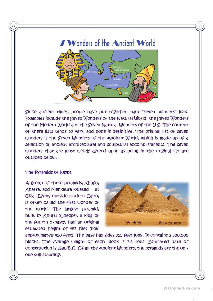 a summary of the seven wonders of the ancient world The seven wonders of the ancient world video for kids this is the best video we found for kids to learn all about the seven wonders of the ancient world: a video all about the seven wonders of the ancient world covering the sculptures and architectural monuments of the mediterranean and middle eastern regions.