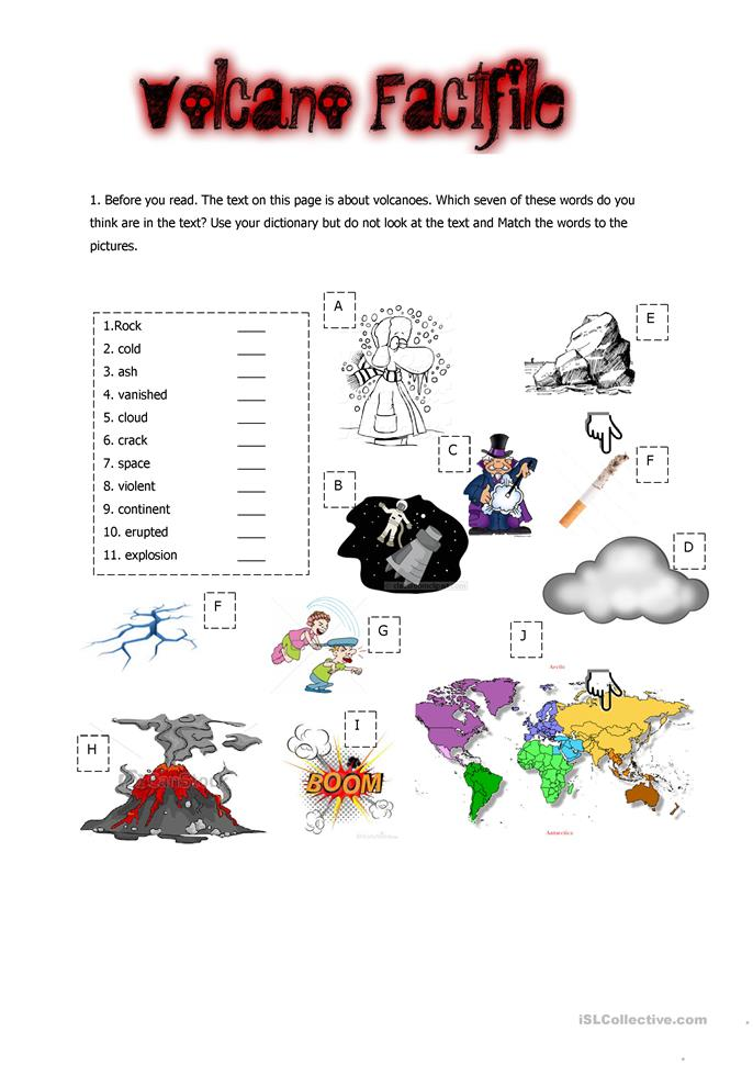 Volcano Factfile Worksheet Free Esl Printable Worksheets