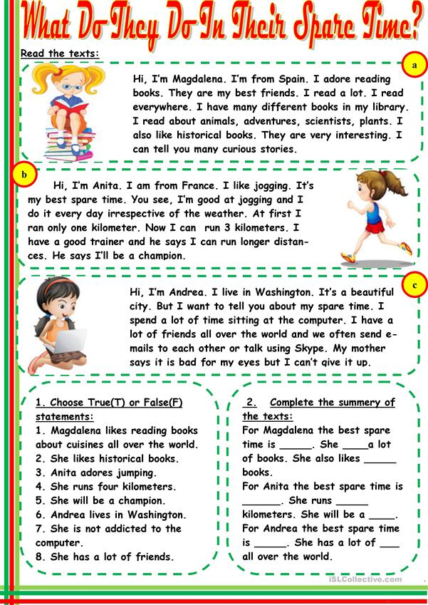 What do they do in their spare time? - English ESL Worksheets