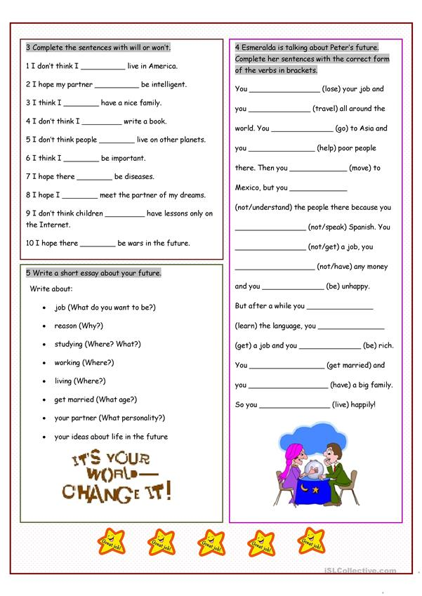 Your Future Prediction Worksheet Free Esl Printable