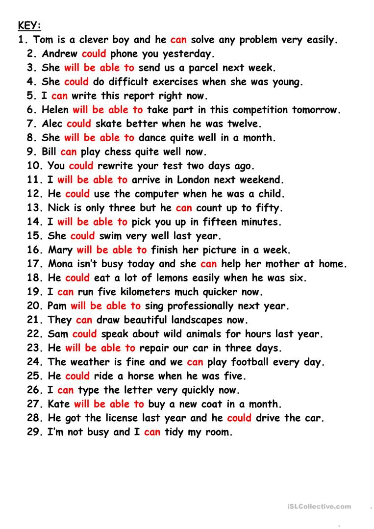 Can and could grammar exercises