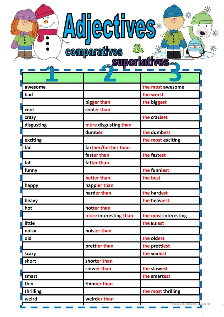 worksheet Comparatives And Superlatives Worksheets 49 free esl comparative and superlative adjectives worksheets fill ins