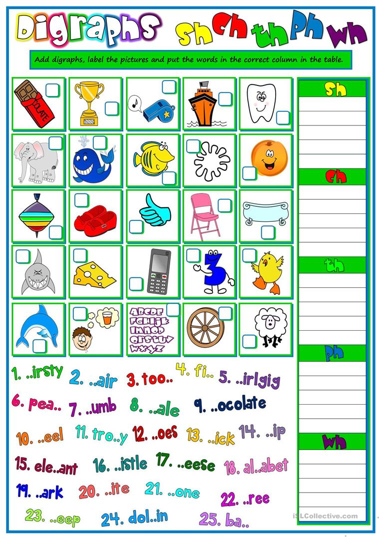 Worksheets Digraph Worksheets 11 free esl digraphs worksheets sh ch th ph wh