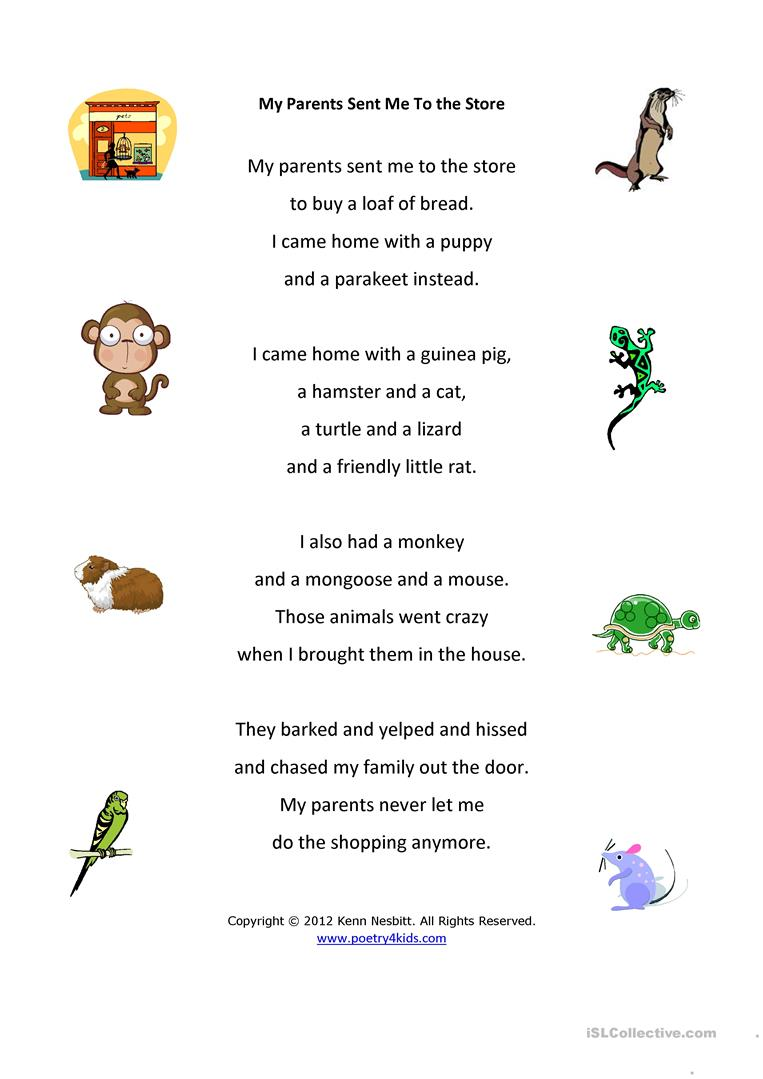 37 free esl poetry worksheets