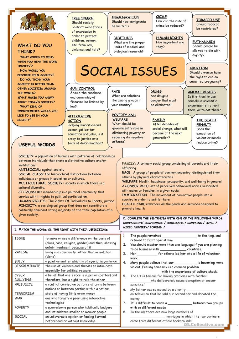 worksheet Social Thinking Worksheets Free social issues worksheet free esl printable worksheets made by teachers full screen