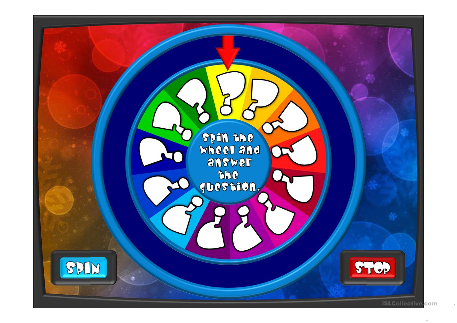 10 free esl spin the wheel powerpoint presentations, exercises, Powerpoint templates