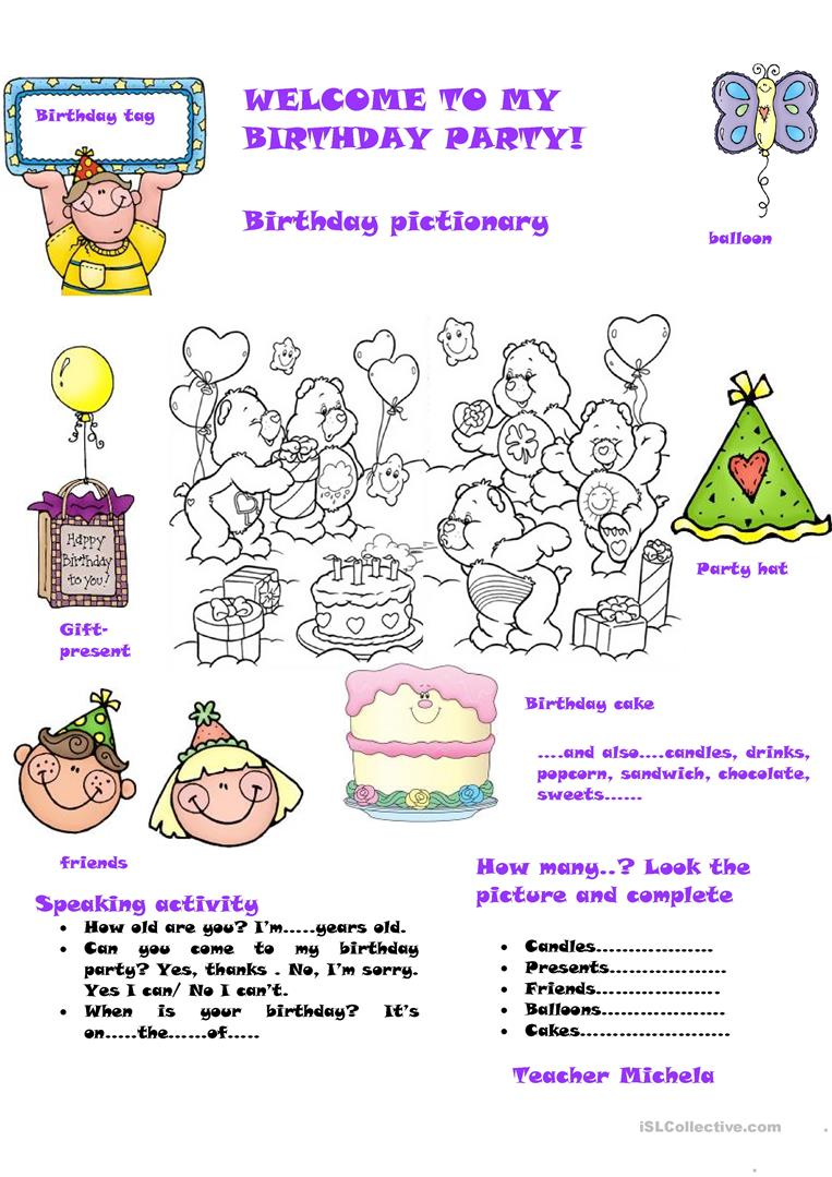 welcome to my birthday party worksheet free esl. Black Bedroom Furniture Sets. Home Design Ideas