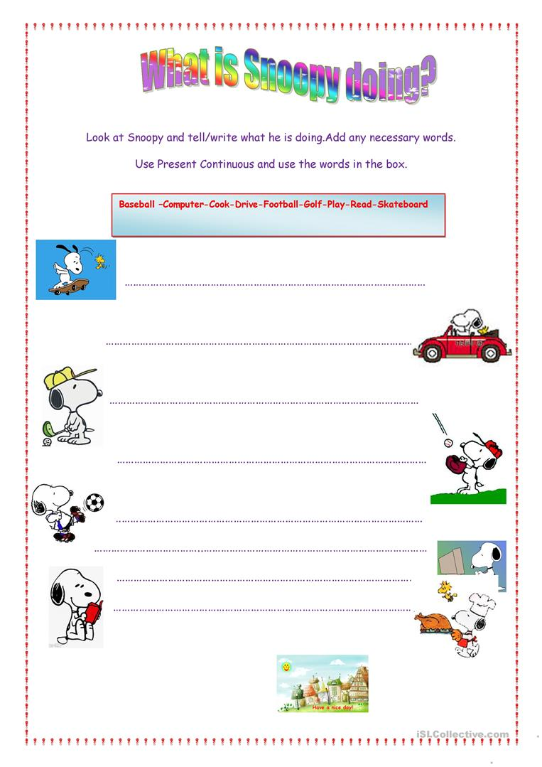 What is Snoopy doing? - English ESL Worksheets