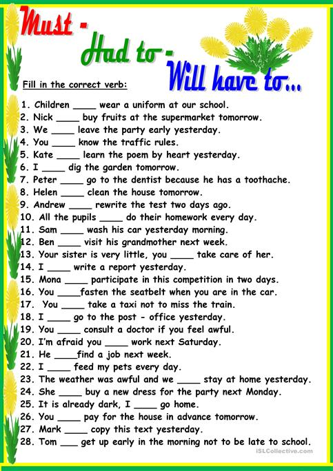 Must-Had to-Will have to... worksheet - Free ESL printable ...