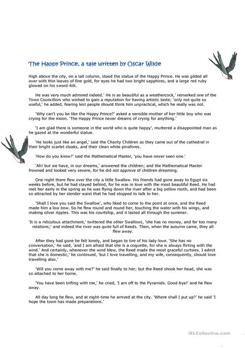 The Happy Prince A Tale And Follow Up Activities Worksheet Free