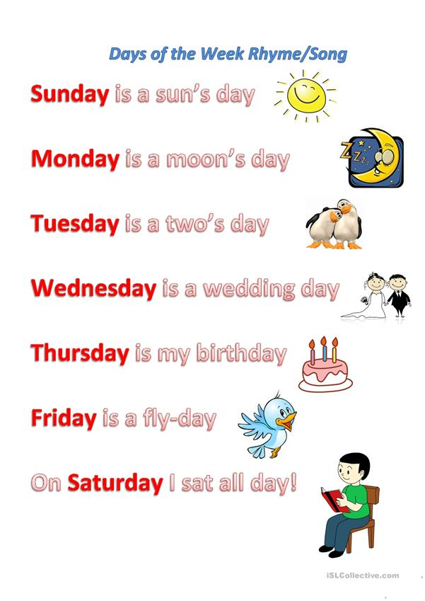 Days of the week rhyme/song