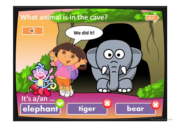 DORA AND THE CAVE. ANIMALS.