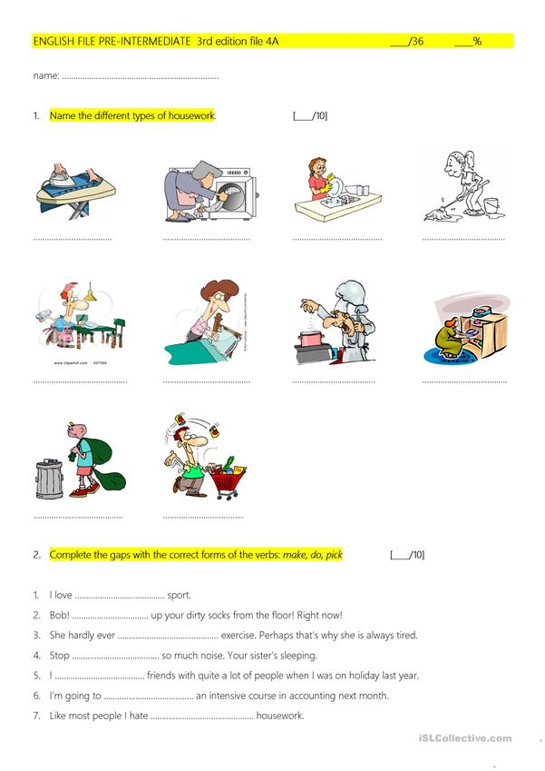 English File Pre 3rd ed 4A quiz