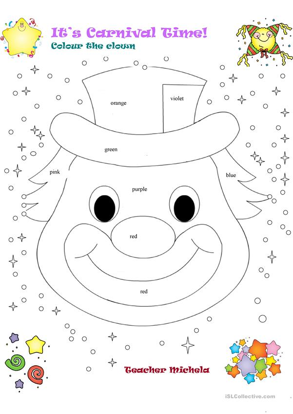 It's Carnival time! Colour the clown