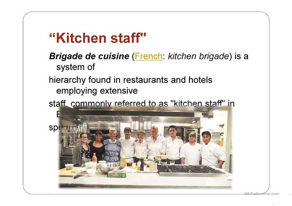 kitchen staff and appliances