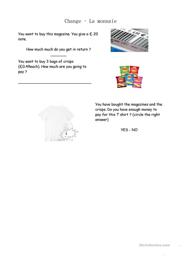 Money math worksheet