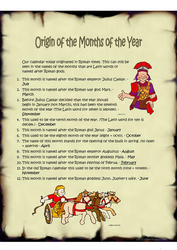 Origins of the months of the year