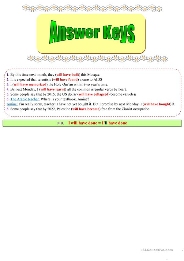 The future perfect tense explained the best way (Theory + Practice) - + answer Key