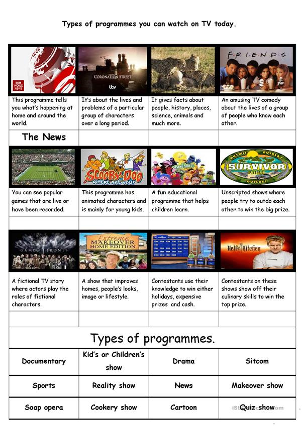 Types of current  popular  TV programmes