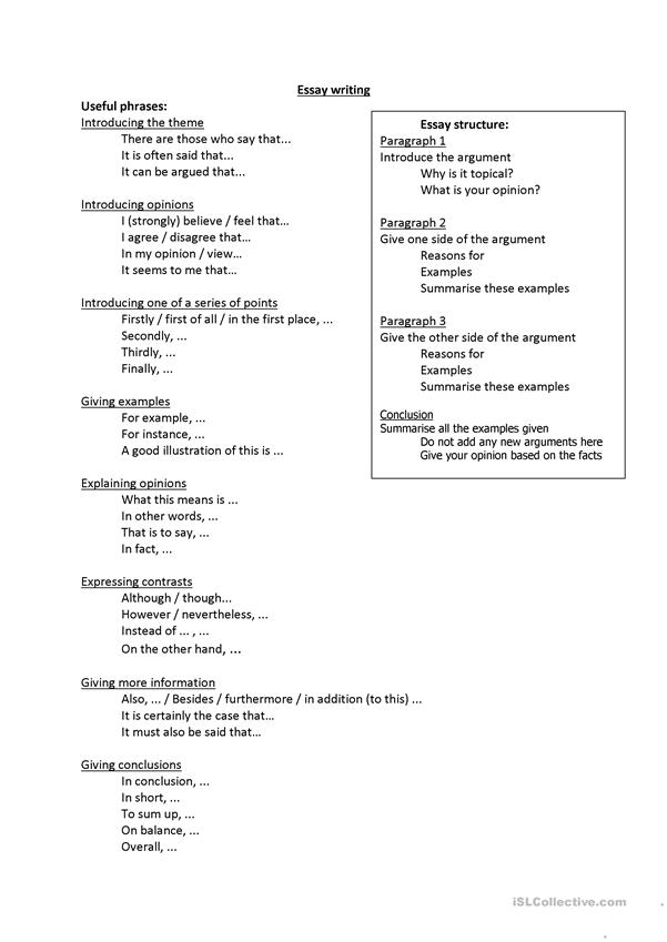 Useful phrases for Essay Writing