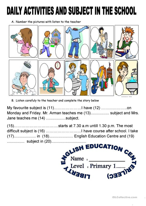 verb and subject in the school