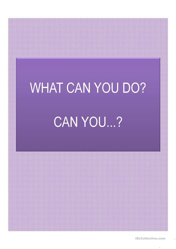 What can you do? I can...
