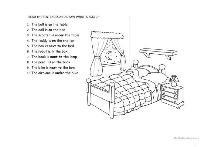 bedroom toys and prepo... - ESL worksheets