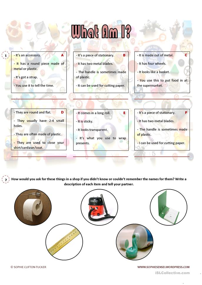 Describing Objects in English worksheet - Free ESL printable worksheets made by teachers