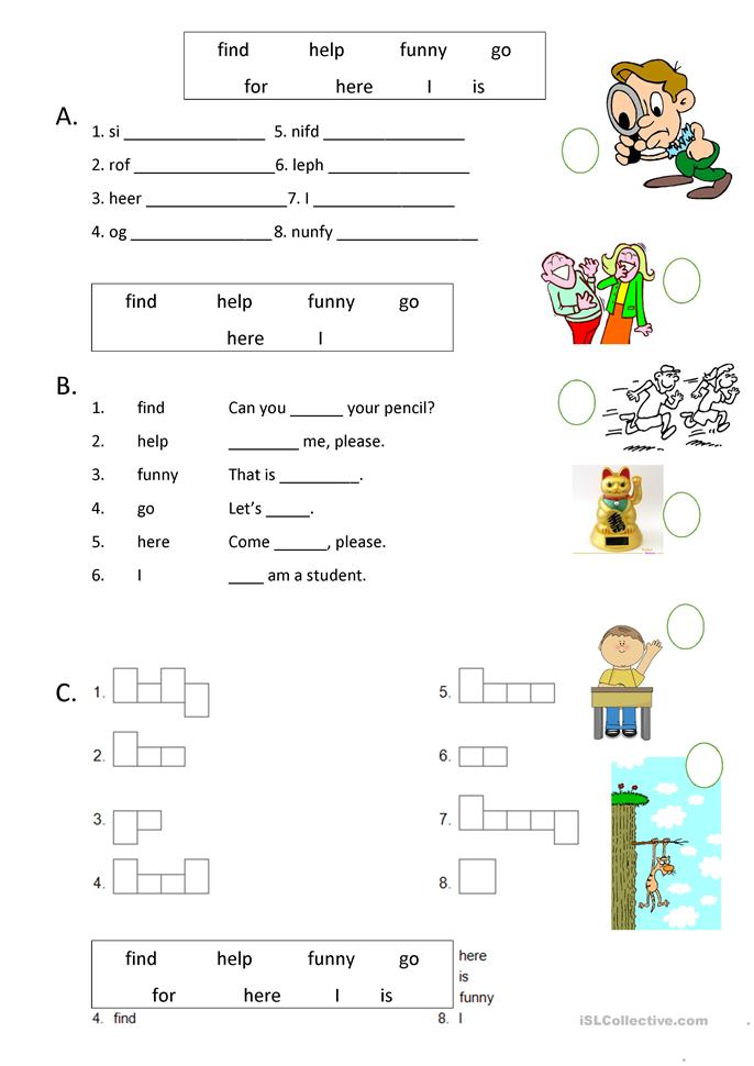 Dolch basic sight words worksheets