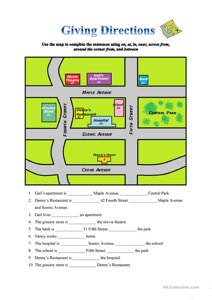 Giving Directions worksheet - Free ESL printable worksheets made by ...