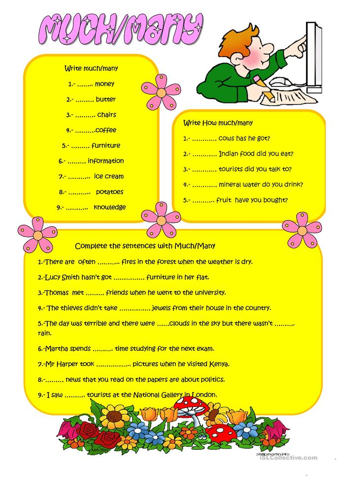 MUCH and MANY - ESL worksheets