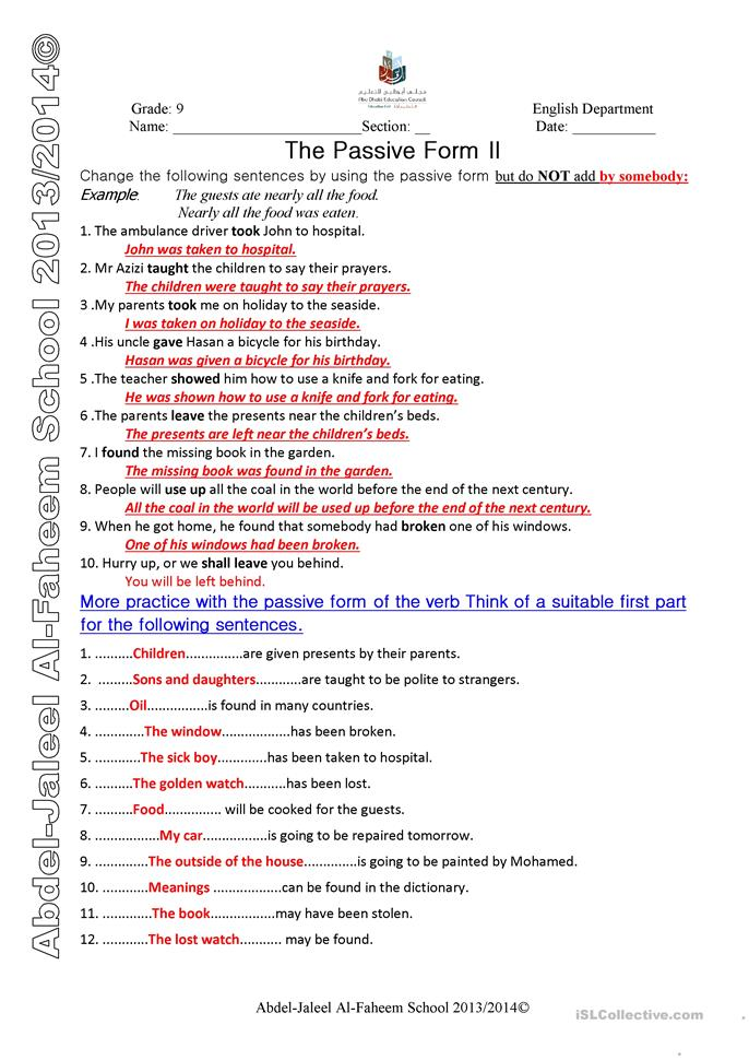 active and passive voice exercises with answers pdf download