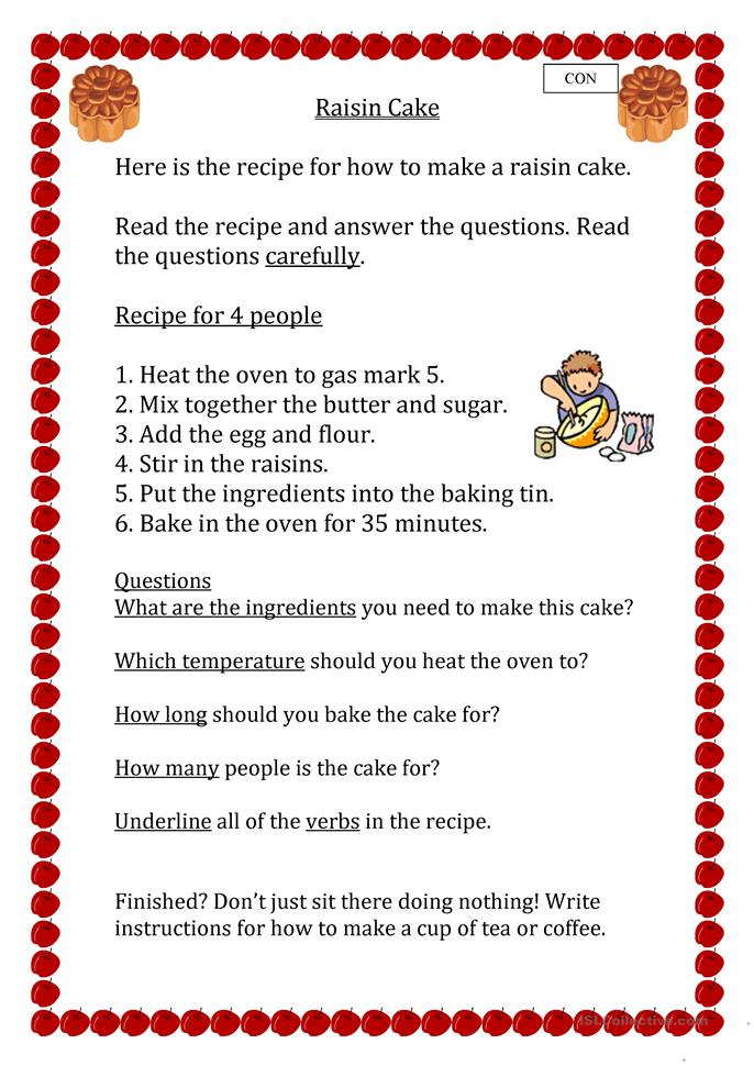 Worksheet Parts Of A Recipe : Free esl recipes worksheets