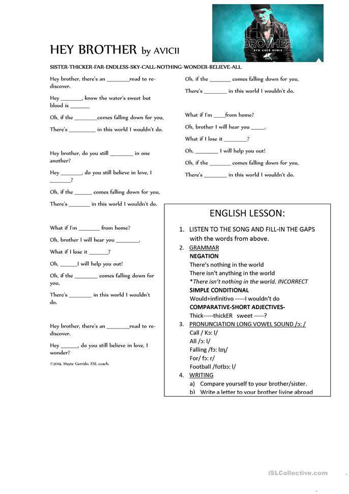 Song Worksheet What Does The Fox Say By Ylvis: Song Lyrics Hey Brother By AVICII Worksheet