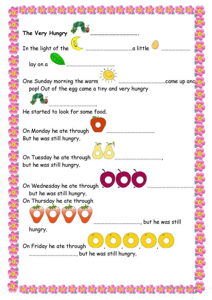7 FREE ESL the very hungry caterpillar worksheets