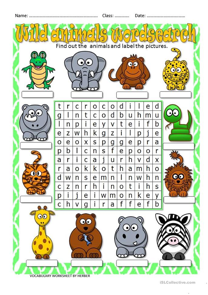 wild animals wordsearch worksheet free esl printable worksheets made by teachers. Black Bedroom Furniture Sets. Home Design Ideas