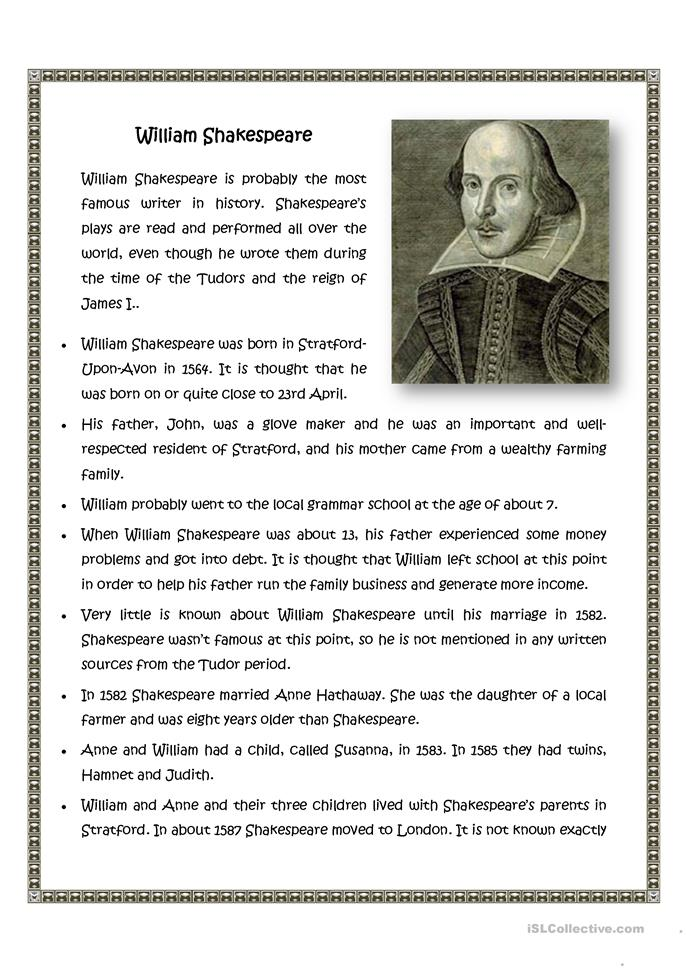biography of william shakespeare 2 essay
