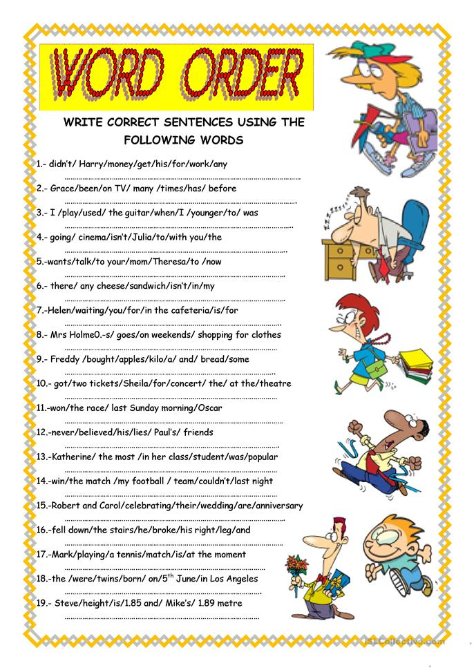 WORD ORDER - ESL worksheets