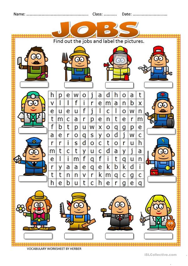 JOBS WORDSEARCH - English ESL Worksheets for distance ...