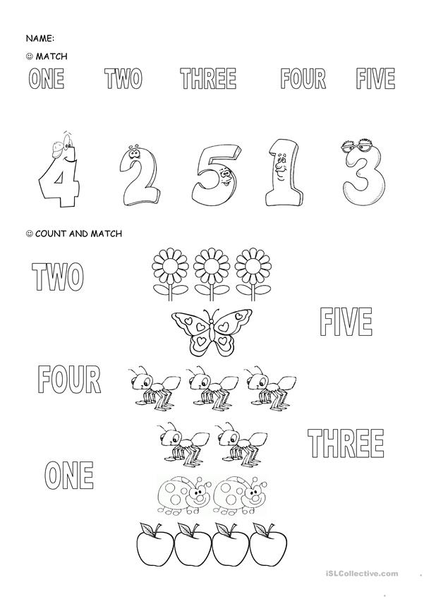 NUMBERS 1-5 - English ESL Worksheets for distance learning ...