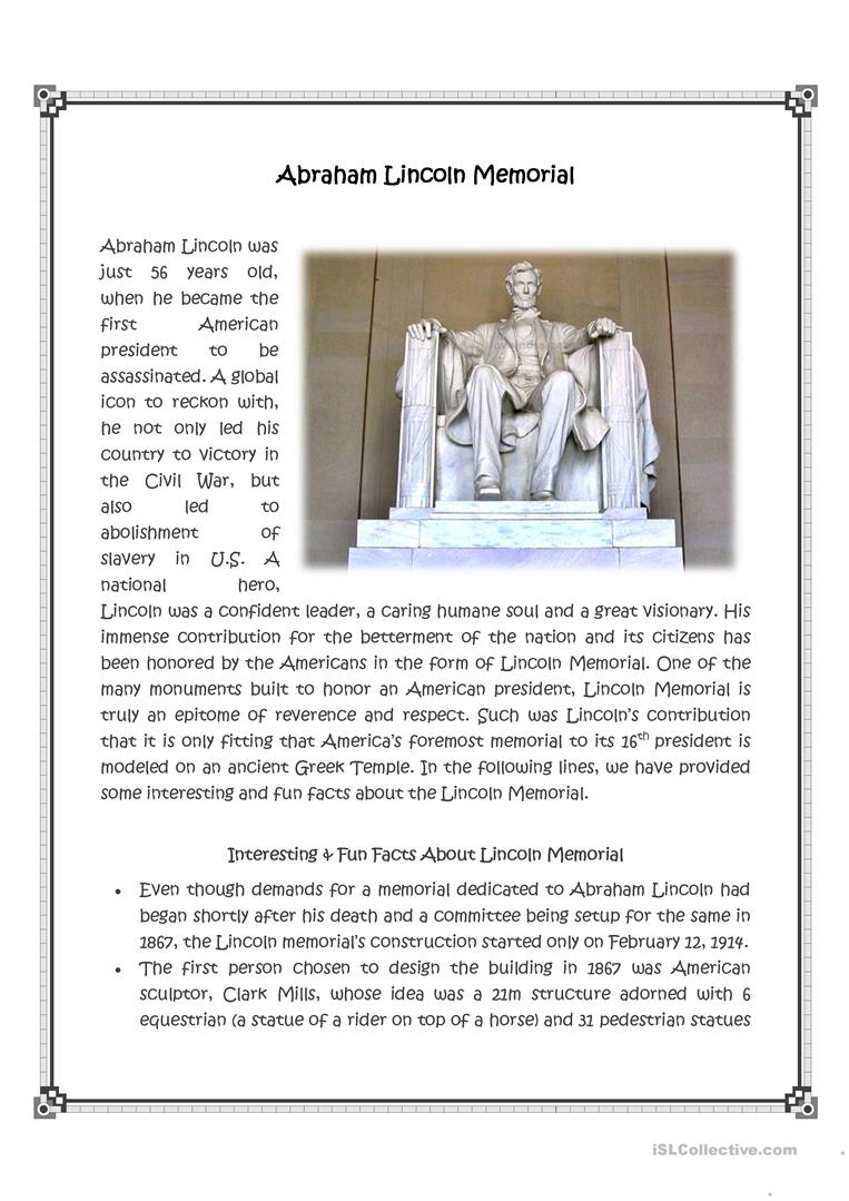 worksheet Abraham Lincoln Worksheets abraham lincoln memorial worksheet free esl printable worksheets full screen