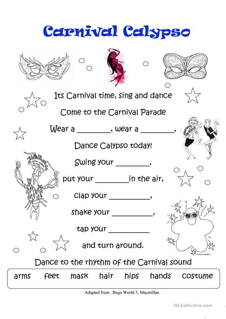 worksheet Dance Worksheets 33 free esl bugs worksheets carnival calypso worksheets