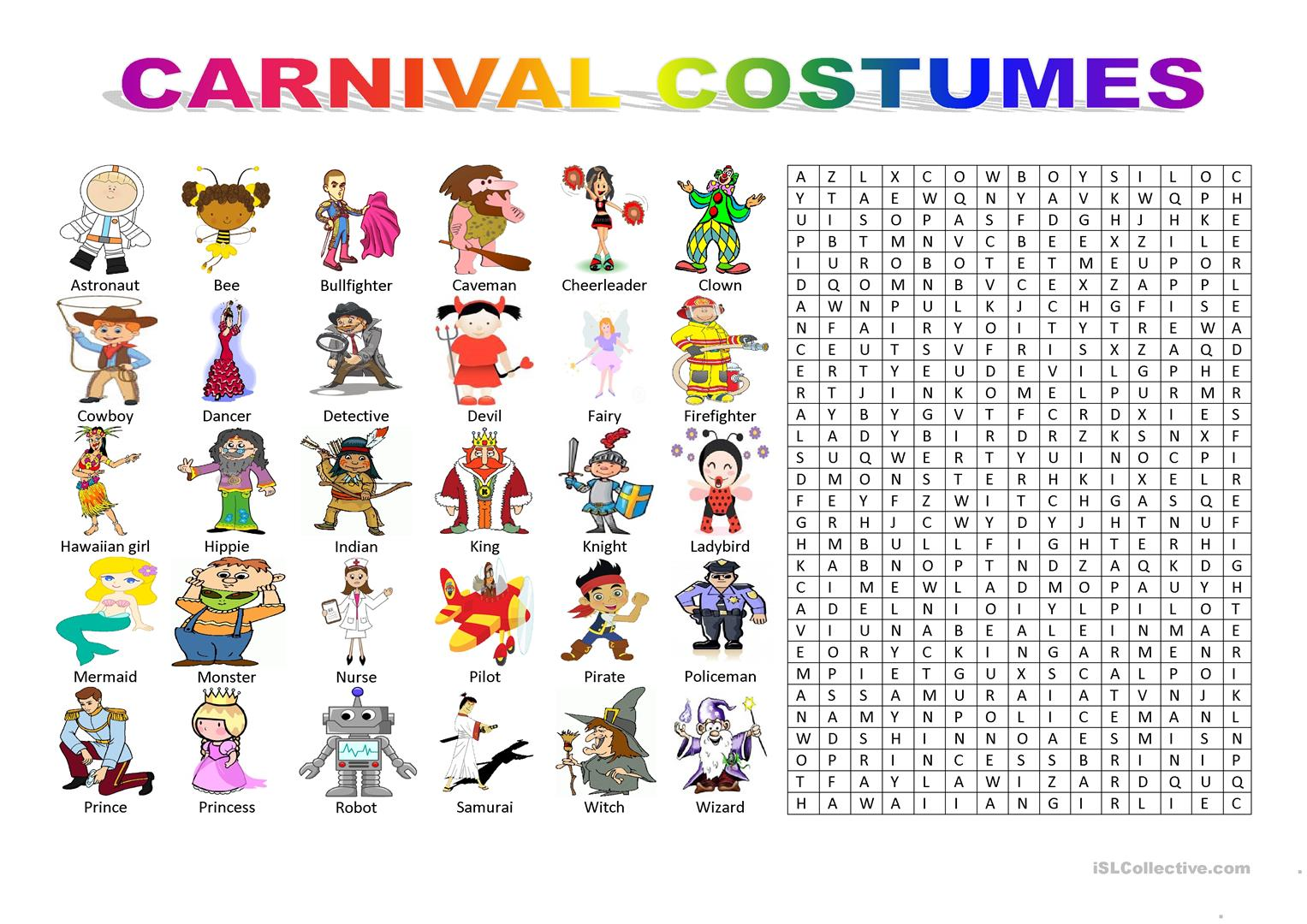 CARNIVAL COSTUMES , Wordsearch Puzzle , English ESL Worksheets