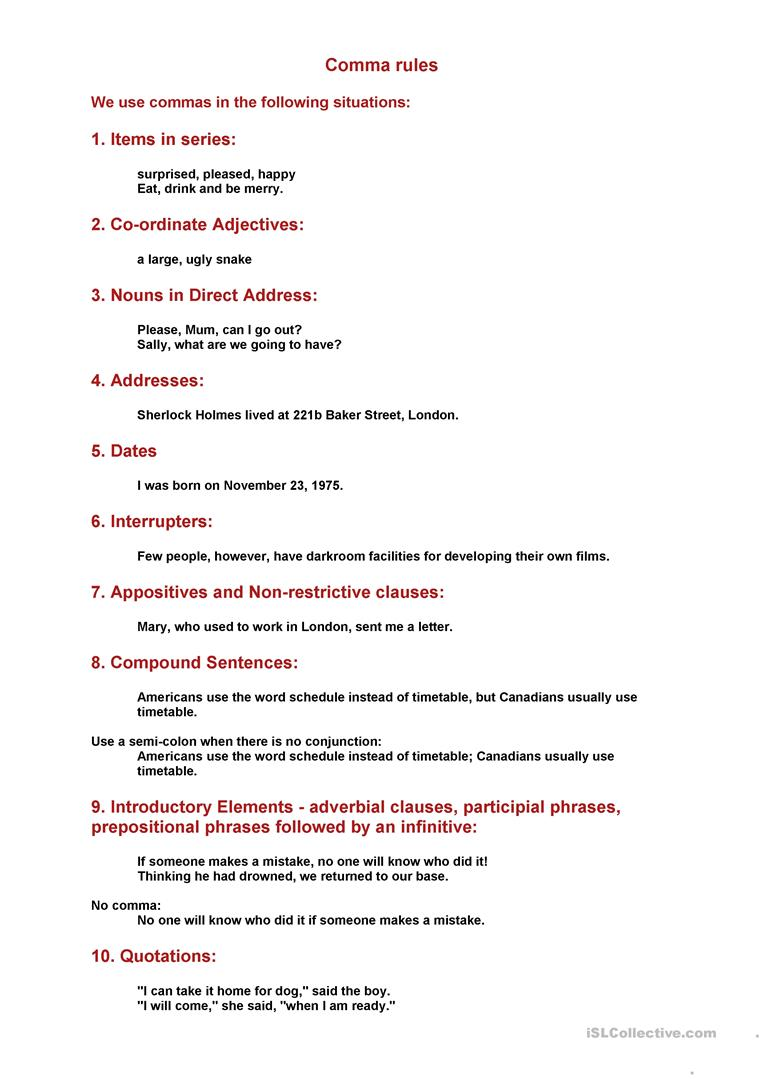 worksheet Comma Rules Worksheet comma rules worksheet free esl printable worksheets made by teachers full screen
