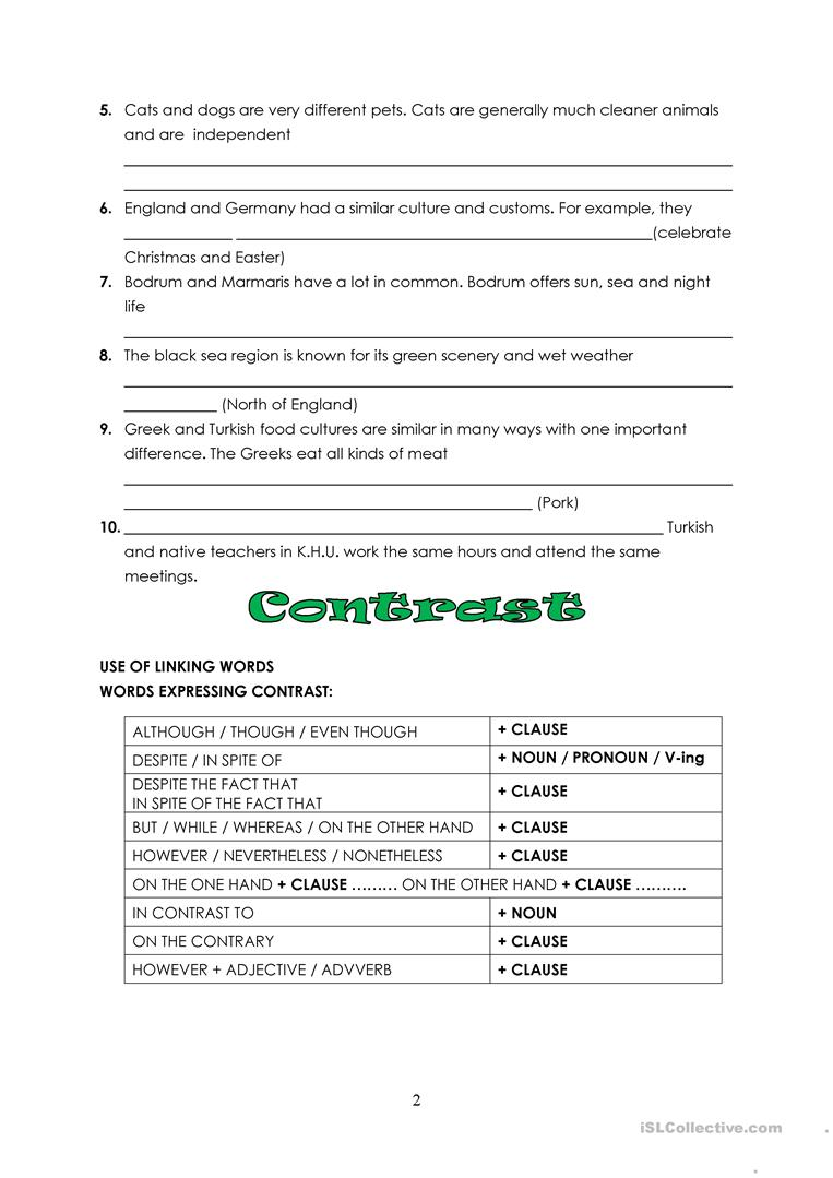 esl essay comparison contrast