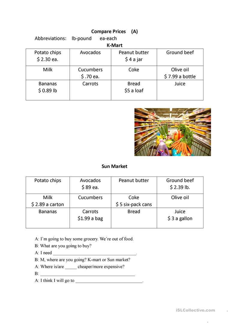 comparing food prices worksheet free esl printable worksheets made by teachers. Black Bedroom Furniture Sets. Home Design Ideas