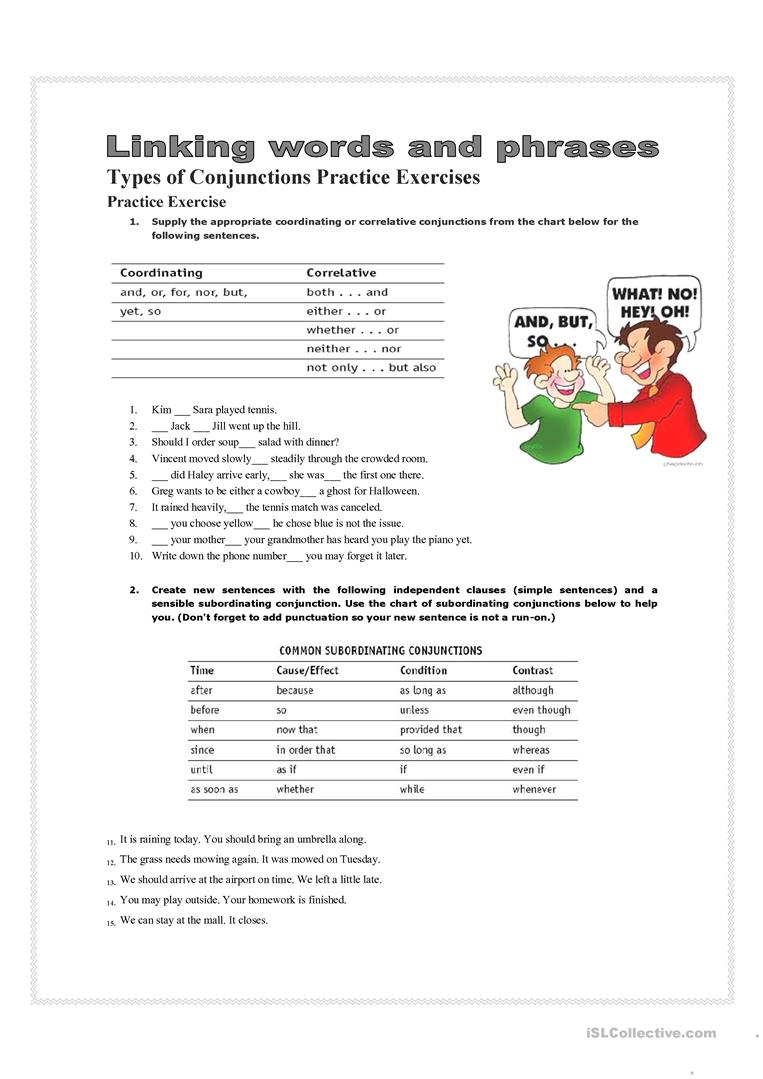 conjunctions - English ESL Worksheets